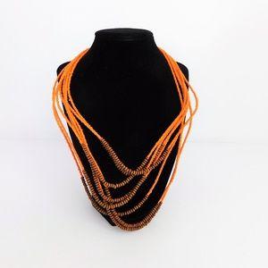 Boho Multi 8 Strand Orange & Brown Beaded Necklace
